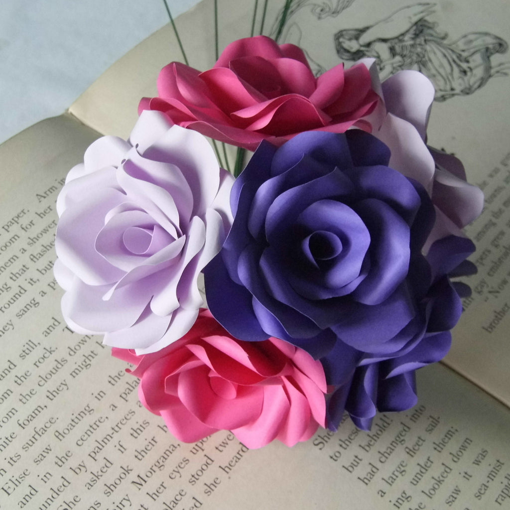 12 X Mixed Paper Flower Roses Purple Lilac Pink Roses Bouquet