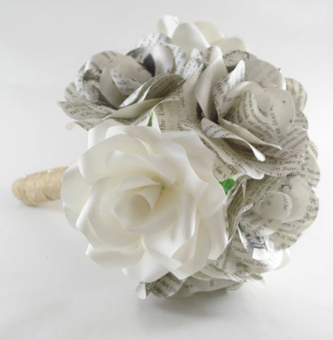 Paper Flower Wedding / Bridal Bouquet, Paper Roses Wedding Flowers