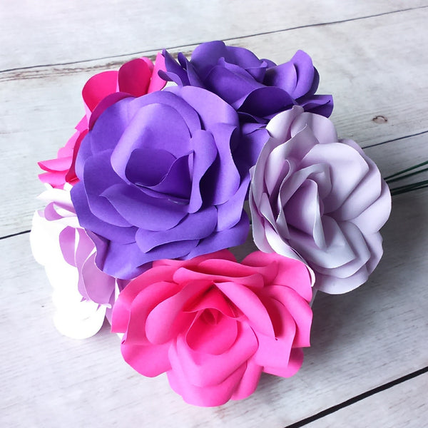 6 x Mixed Paper Flowers, Purple, Lilac & Pink Roses Bouquet