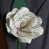 3 x Harry Potter Book Paper Flower Rose Buttonholes / Boutonnieres