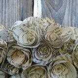 20 cm Handmade Book Paper Flower Rose Wreath Close Up