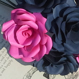 12 x Navy Blue & Hot Pink Paper Roses