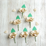 Vintage Map Paper Rose Buttonholes