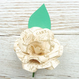 Vintage Map Paper Flower Buttonhole