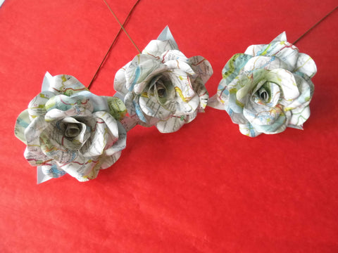3 x Map Paper Flower Roses