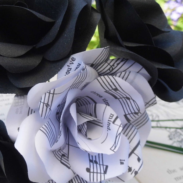 12 x Music Paper Flower Roses, Black Roses Mixed Bouquet, Handmade Paper Flowers