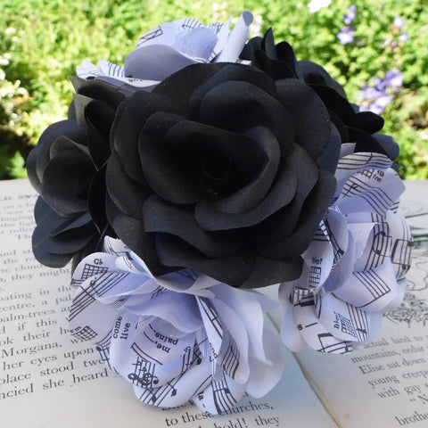 6 x Music Paper Flower Roses, Black Roses Mixed Bouquet, Handmade Paper Flowers