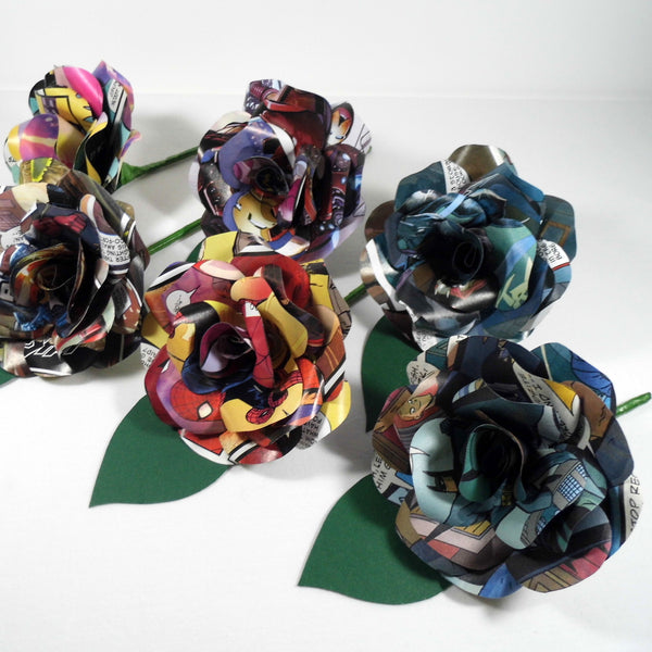 Comic Book Paper Rose Buttonholes/ Boutonnieres with Green Leaf