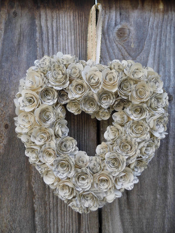 Small Handmade Book Paper Flower Rose Wreath