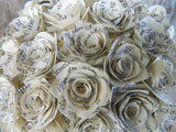 Small Handmade Book Paper Flowers Rose Pomander Kissing Ball close up