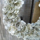 Horseshoe Book Paper Rose Wreath Close Up 3