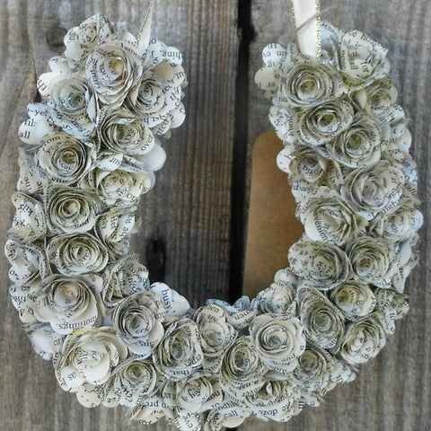 Horseshoe Book Paper Rose Wreath