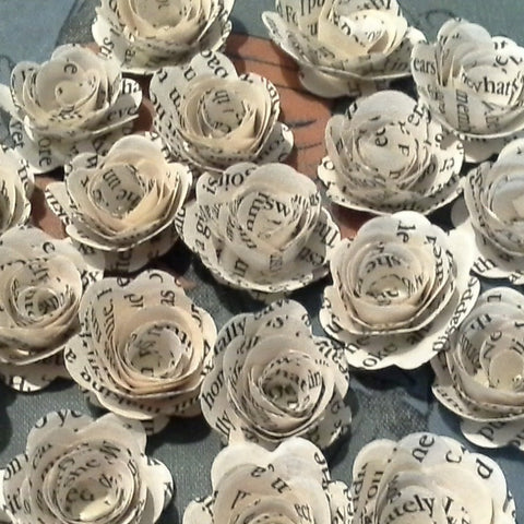 25 x Book Page Rolled Roses