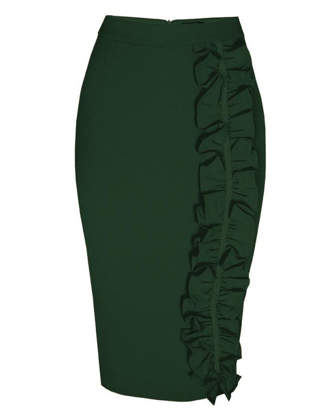 Inighi Frilled Midi Pencil Skirt - Forest Green