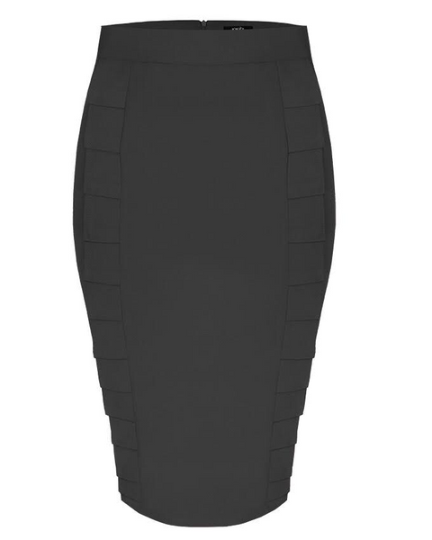 Inighi Dual Pleats Pencil Skirt - Black