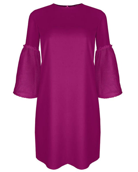 Inighi Net Detail Sleeves Shift Dress - Purple (Not available for express delivery)