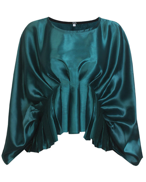 Inighi Oversized Pleated Top - Green (Pre- Order Only)