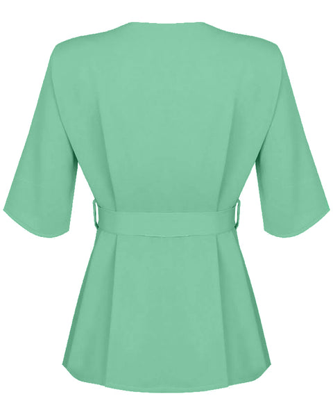 Inighi Button Detail Belted Top - Mint (Pre-Order Only)