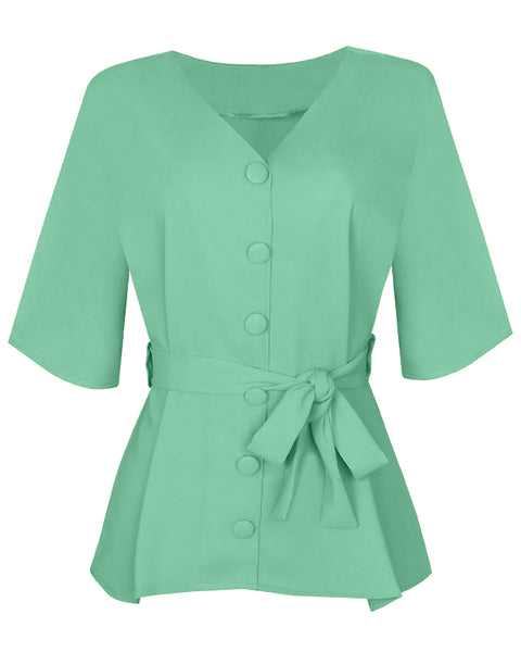 Inighi Button Detail Belted Top - Mint