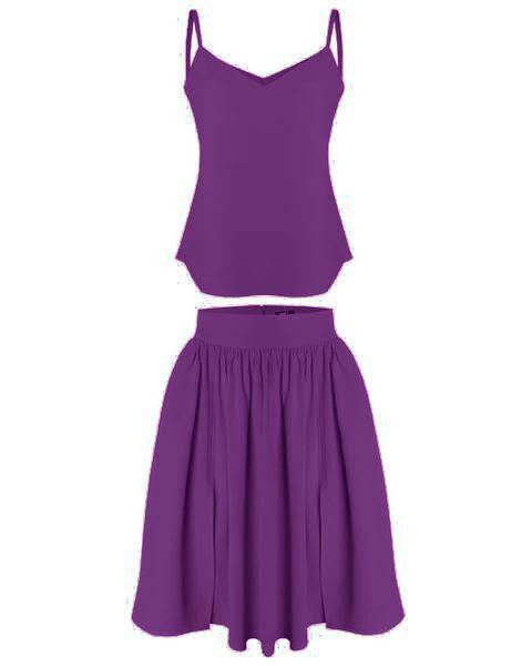 Inighi Dual Slit Gathered Skirt Set - Purple