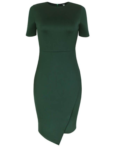 Inighi Asymmetric Overlap Pencil Dress - Forest Green (Pre-Order Only)