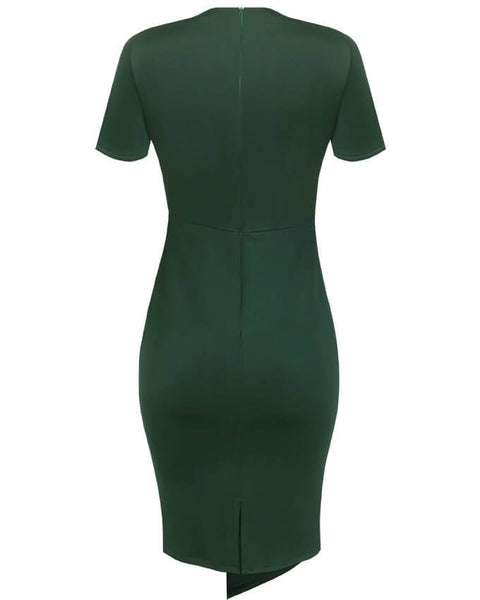 Inighi Asymmetric Overlap Pencil Dress - Forest Green