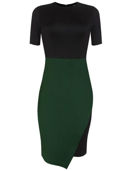 Inighi Asymmetric Overlap Pencil Dress - Black & Green (Pre-Order Only)