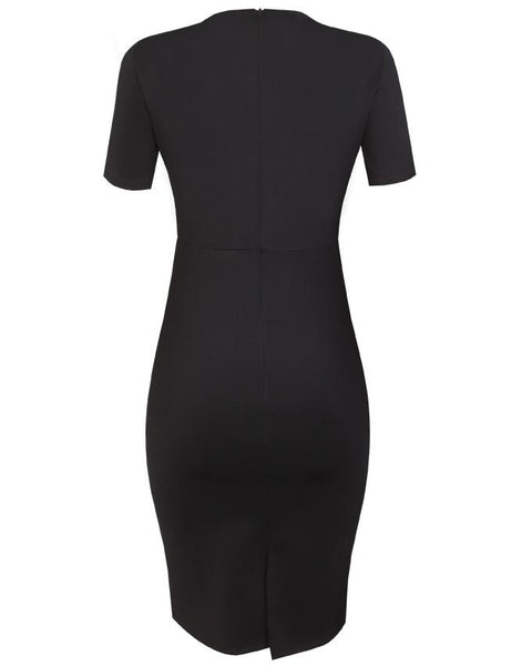 Inighi Asymmetric Overlap Pencil Dress - Black & Green