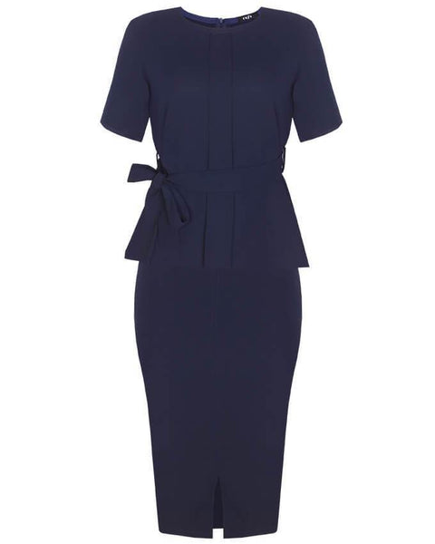 Inighi Belted Top & Midi Slit Pencil Skirt Set - Navy Blue