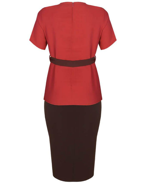 Inighi Belted Top & Midi Slit Pencil Skirt Set - Mahogany & Brown