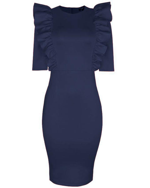 Inighi Bodice Frill Pencil Dress - Navy Blue