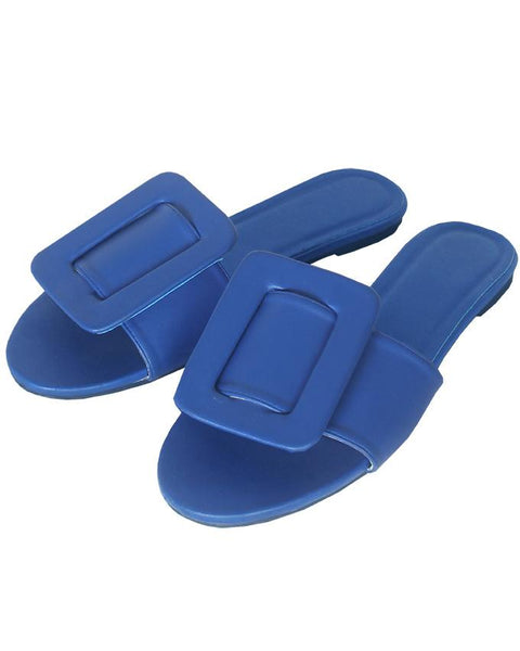 Inighi Buckled Detail Slippers - Royal Blue
