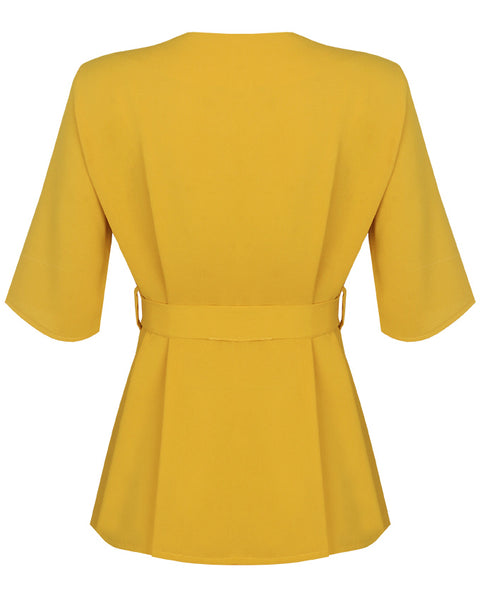 Inighi Button Detail Belted Top -Mustard  (Pre-Order Only)