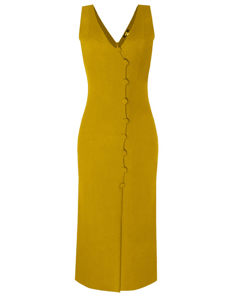 Inighi Stripped Button Detail Maxi Dress - Mustard (Pre- Order Only)
