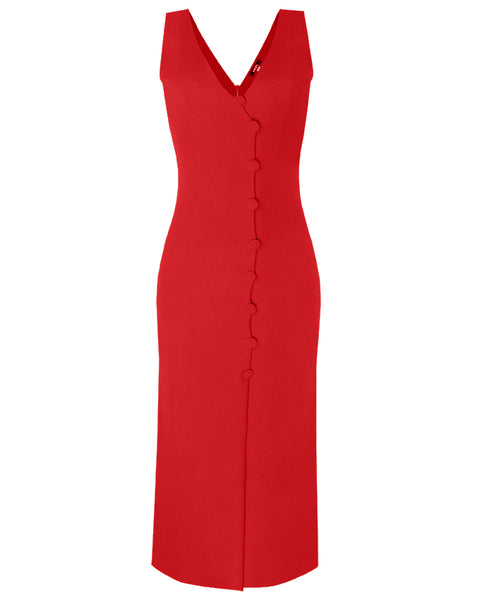 Inighi Button Detail Maxi Dress - Red (Pre- Order Only)