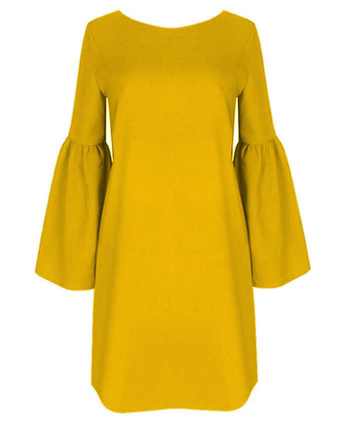 Inighi Button Detail Shift Dress - Mustard Yellow (Not available for express delivery)