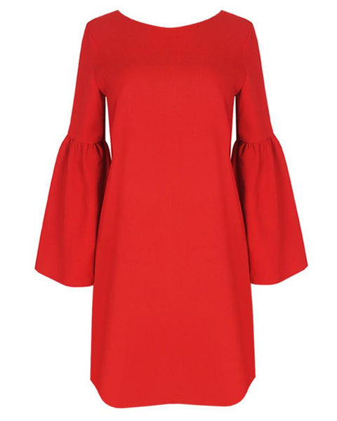 Inighi Button Detail Shift Dress -Rose Red (Not available for express delivery)