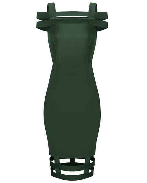 Inighi Caged Midi Dress - Forest Green (Pre - Order Only)