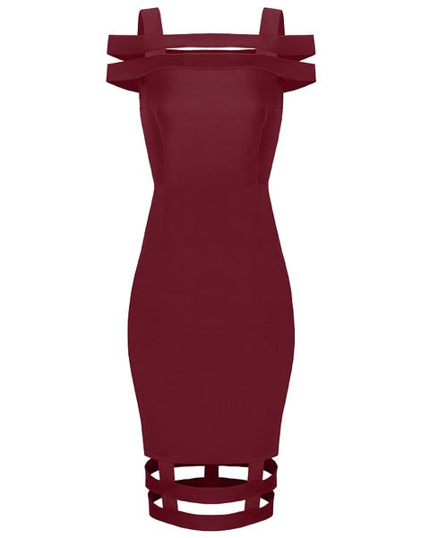 Inighi Caged Midi Dress - Burgundy