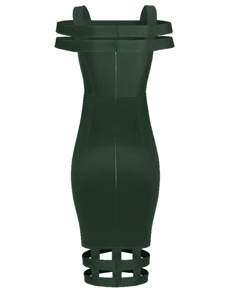 Inighi Caged Midi Dress - Green (Pre - Order Only)