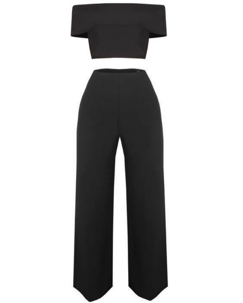Inighi Cape Off Shoulder Top and High Waist Flare Pants