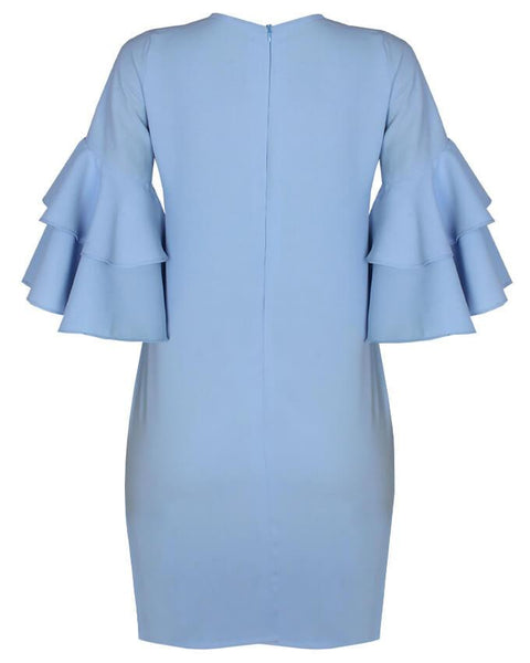 Inighi Dual-Layered Sleeves Shift Dress- Baby Blue