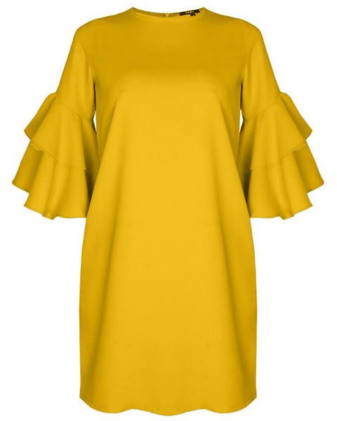 Inighi Dual-Layered Sleeves Shift Dress - Mustard Yellow