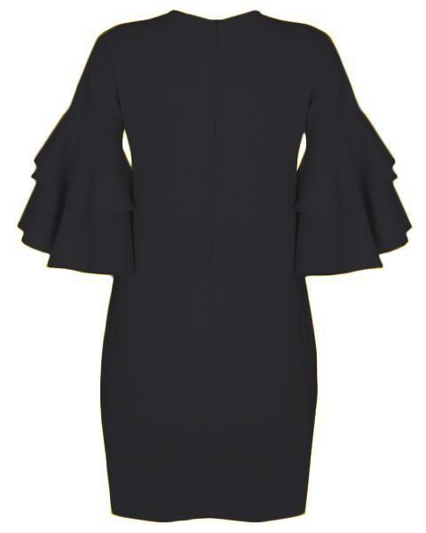 Inighi Dual-Layered Sleeves Shift Dress - Pitch Black