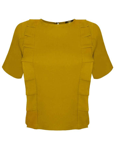 Inighi Dual Pleats Top - Mustard