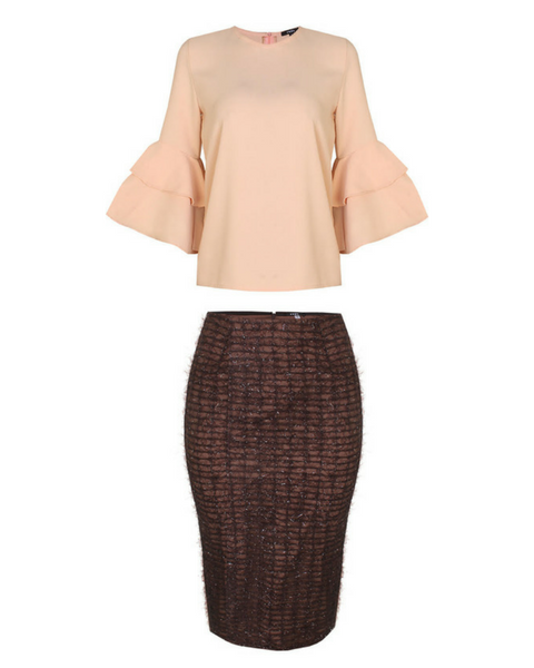 Inighi Dual Sleeves Top & Inighi Brown Lace Skirt