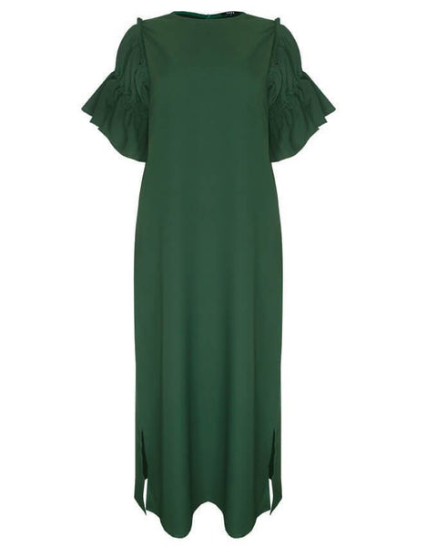 Inighi Flare Sleeve Maxi Dress- Green