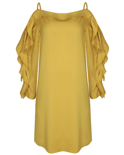 Inighi Frilled Shift Dress - Yellow