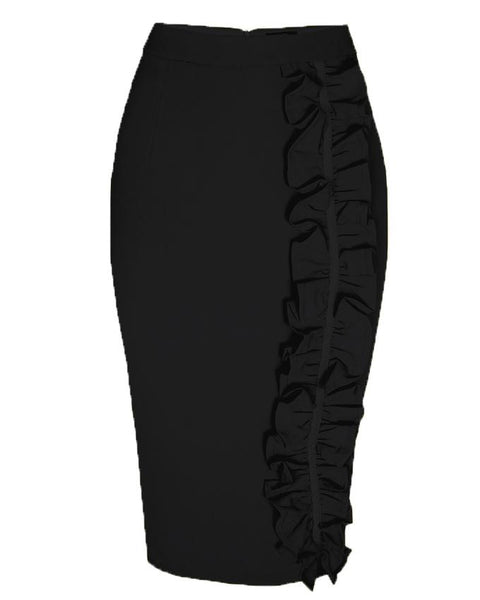 Inighi Frilled Midi Pencil Skirt  - Black