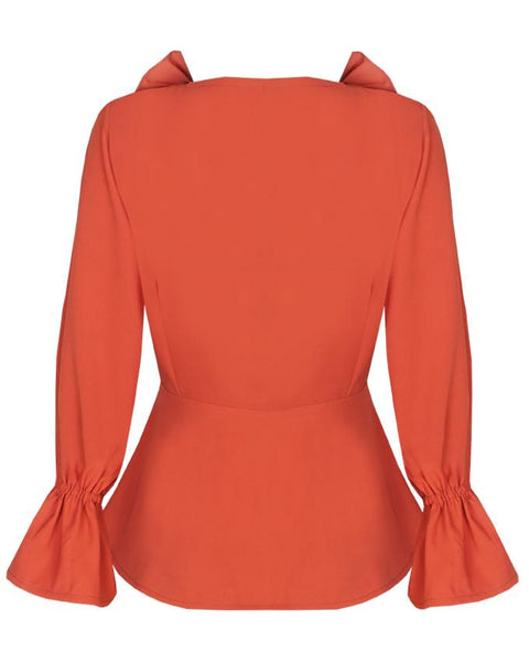 Inighi Frilled Neck Wrap Top - Orange